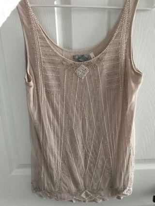 H&M Blush Rose Top with Bead Detailing - Small