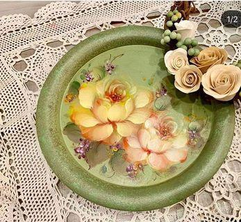 純手繪 法式玫瑰木盤