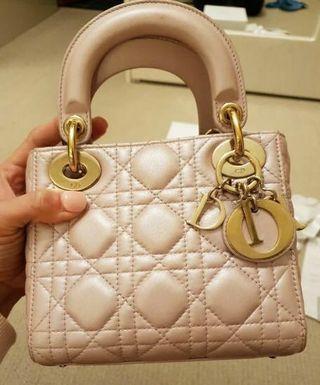 Lady Dior Mini , 20 cm, perle rose color