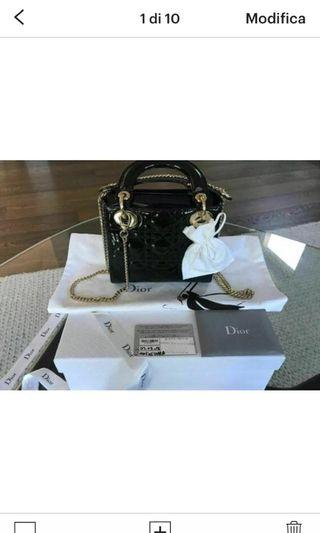 Lady Dio Mini , 22 cm, gloss leather , black color