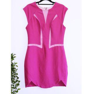 Angel Biba Pink Mesh Cocktail party clubbing dress - Size 12 L
