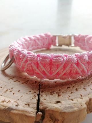 Heart Stitched Paracord Collar with Silver Buckle