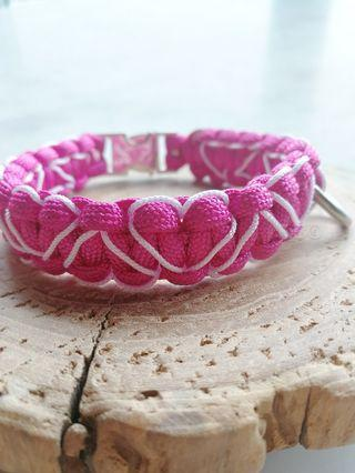 DHeart Stitched Paracord Collar with Silver Buckle