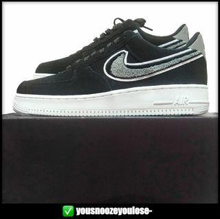 🌊INSTOCK🌊 NIKE AIR FORCE 1 LOW CHENILLE SWOOSH BLACK COOL GREY
