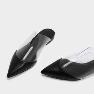 Charles and Keith Pointed Flat Mules (Black and Clear Shoes)