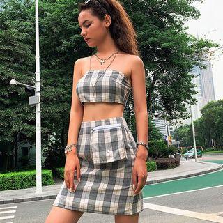 set 2 piece checkered tube bandeau with skirt streetwear hypewear