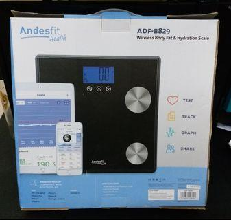 Wireless Body Fat & Hydration scale, Andes fit health, ADF-B829