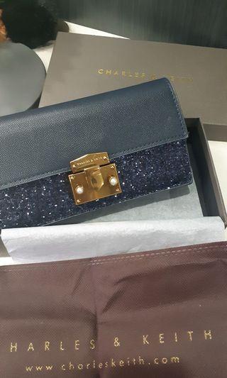 CK Push Lock Wallet n Chain NavyBlue Glitter