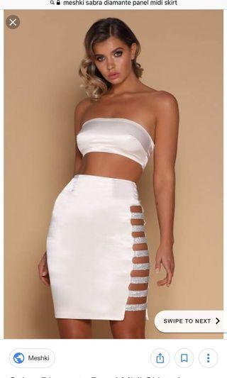 BNWT Meshki Diamanté Midi Skirt White