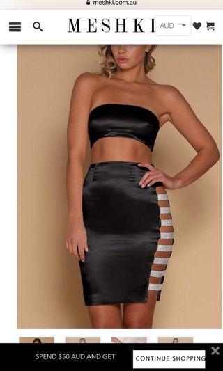 BNWT Meshki Diamanté Midi Skirt