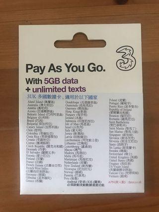 3HK 歐洲 5G 電話卡 數據咭 30日