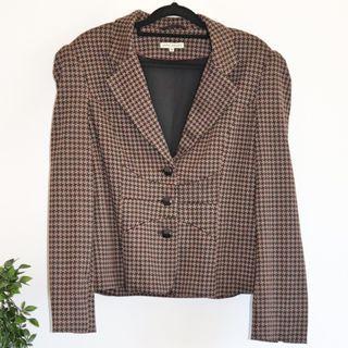 Laura Ashley Brown & Black Houndstooth Jacket/Blazer- Size 14