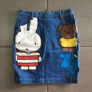 Denim Dress with bunny and bear