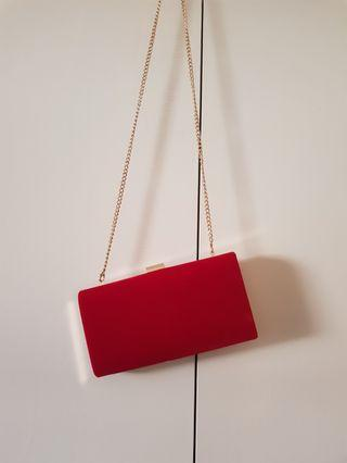 BNWT Colette Red Faux Suede Clutch Bag