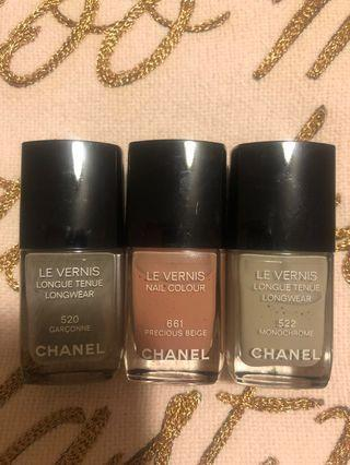 Chanel Nailpolish All 3 for $25 or $10 each