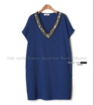 Blue V-Neck Spangle Dress