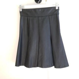 Faux Leather Flippy Skirt