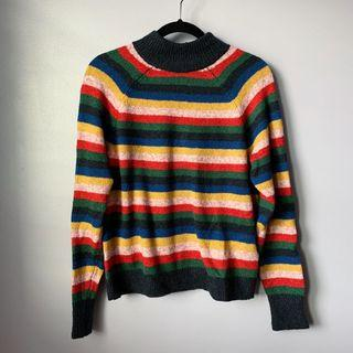 Abercrombie and Finch Mock Neck Striped Sweater