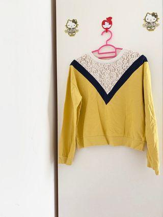 LALU mustard lace overall TOP