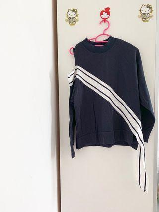LALU navy blue striped off shoulder (one side) overall TOP