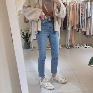 🚚 korea刷色小直筒牛仔褲