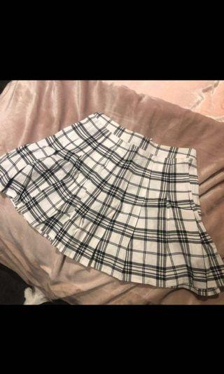 Black Check Tennis Side Split Skirt