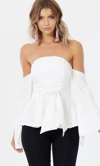 White off the shoulder top size 10