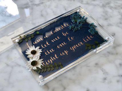Hand written message plaque