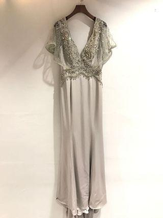 銀灰閃石晚裝裙