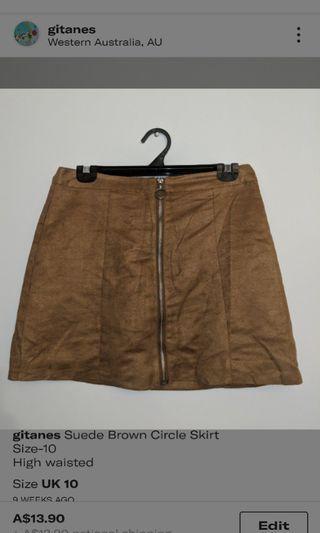 Brown Suede Highwaisted Skirt