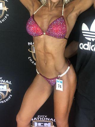 Fitness bikini competition suit red