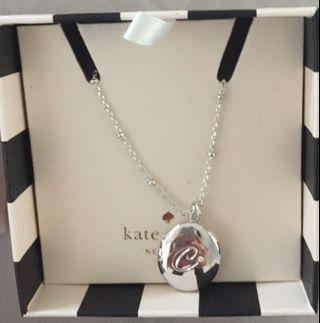 "Kate Spade Silver Initial ""C"" Locket Pendant Necklace"