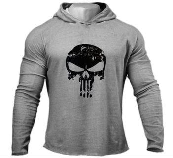 PUNISHER thin soft material hoodie / gym / sports shirt