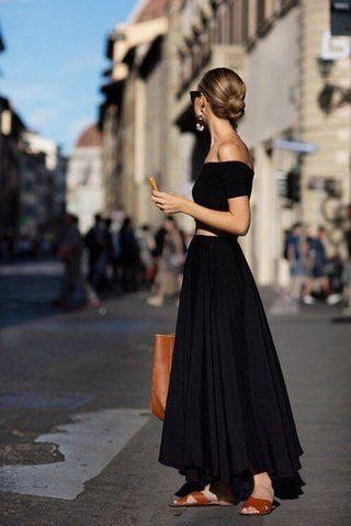 Zara woman chiffon black Pleated long skirt midi dress blouse top shop asos bcbg self portrait mango cos club monaco maje sandro new look 外國黑色不規則雪紡百摺半身裙 半截裙 連身裙 長裙 襯衫