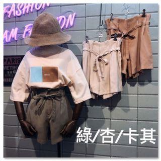 (新品預購)❤️ PEI ღ 依三不整 ❤️_打褶後彈性鬆緊綁繩式棉麻短褲👉🏻(開幕慶全館8折)原價450
