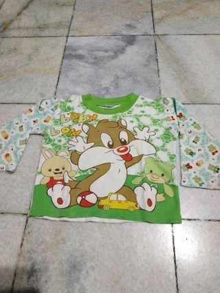 Kaos Baby Kaos tangan panjang rabbit green size 12-18m