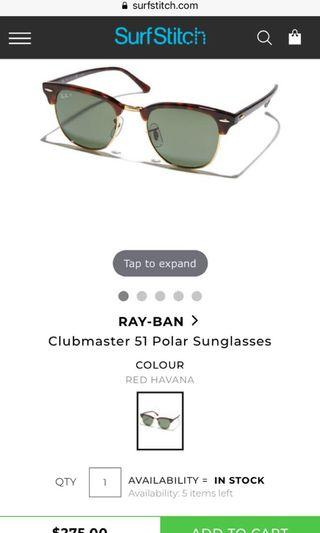 💸SAVE $150💸 Ray Bans Clubmaster