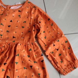 Orange geometric long sleeves dress with lace #Rayathon50