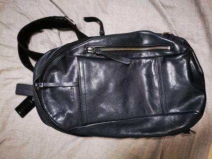 Coach leather Dark blue shoulder bag
