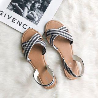 Rubi Black and White Straps Summer Sandals