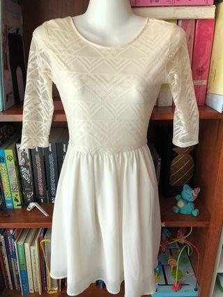H&M lace mesh skater skirt dress