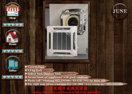 York 3.0HP Cassette Type Second Hand Air Conditioner
