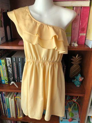 Toga yellow ruffle dress S