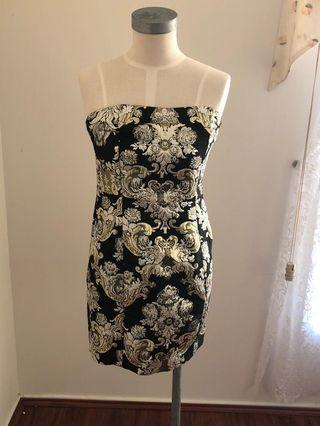 Pretty little things black and gold strapless dress