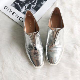 Zara Silver Metallic Oxford Shoe with Zipper
