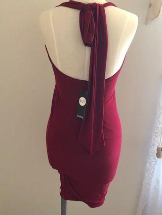 Boohoo night collection red dress