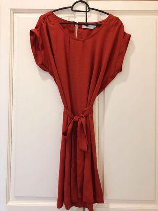 TEMT Orange Dress with wrapped belt.