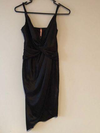 Blossom black satin dress