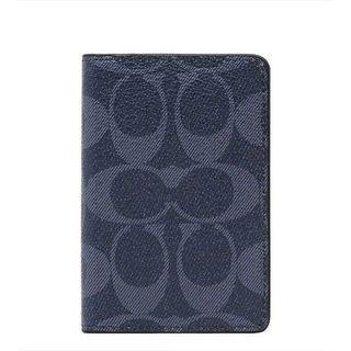 🚚 【COACH】新款中性 潮男 最愛灰藍c logo防刮皮革卡夾包(F66549 QBDEN)