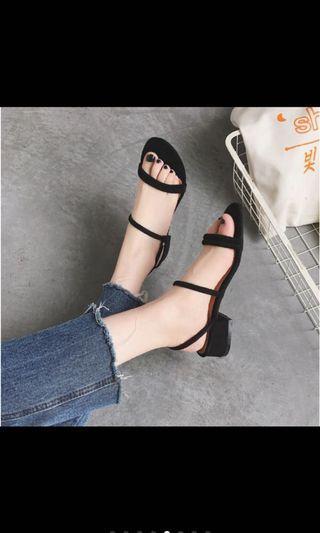 韓版細帶涼鞋 黑色